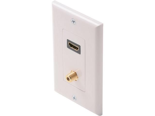 Steren 516-111WH Standard HDMI + F Jack Wall Plate, White