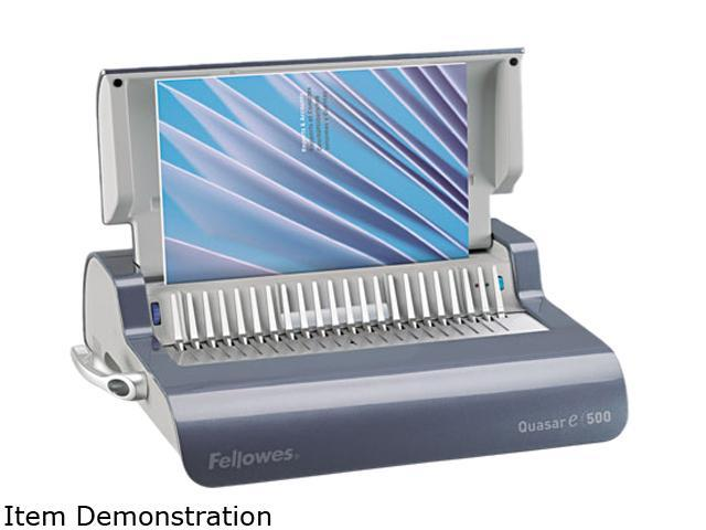 5216901 Fellowes Quasar Comb Binding System, 500 Sheets, 16-7/8w x 15-3/8d x 5-1/8h, Gray