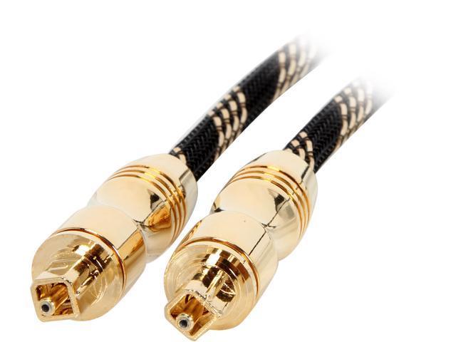 BYTECC Model GPT-3 3 Feet Golden Premium Toslink Digital Optical SPDIF Audio cable w/ Metal Fancy Connector  - OEM