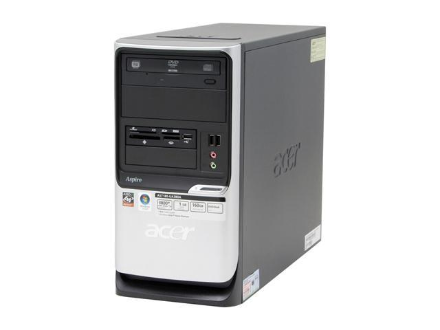 Acer Aspire AST180-UA380A Desktop PC Athlon 3800+ 1GB DDR2 160GB HDD Capacity NVIDIA GeForce 6100 Windows Vista Home Premium