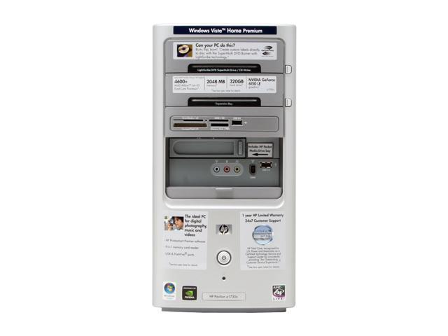 HP Pavilion a1730n(RK574AA) Desktop PC Athlon 64 X2 4600+ 2GB DDR2 320GB HDD Capacity NVIDIA GeForce 6150 LE Windows Vista Home Premium