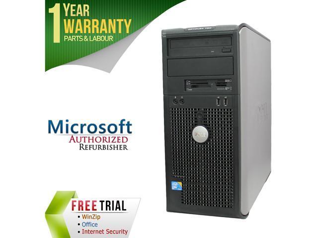 DELL Desktop Computer OptiPlex GX760 Core 2 Quad Q6600 (2.40 GHz) 4 GB DDR2 500 GB HDD Intel HD Graphics Windows 10 Pro