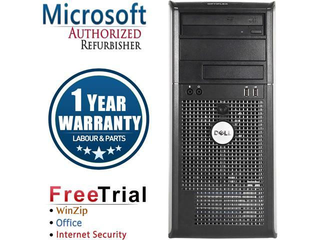 DELL Desktop Computer OptiPlex GX780-Tower Core 2 Quad Q8200 (2.33 GHz) 4 GB DDR3 250 GB HDD Intel GMA 4500 Windows 10 Pro