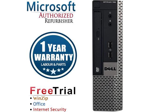 DELL Desktop Computer OptiPlex GX780-USFF Core 2 Duo E8400 (3.00 GHz) 4 GB DDR3 160 GB HDD Intel GMA 4500 Windows 10 Pro