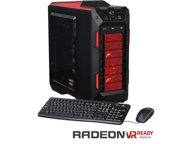 CybertronPC Ruby PC TGMRUBYPC0035RD Gaming PC - AMD FX 8370 Unlocked 8-Core 4.00GHz, 32GB DDR3, 120GB SSD, 2TB HDD, Dual Radeon R9 390X (8GB), Red, DVD±RW, Windows 10 Home 64-bit