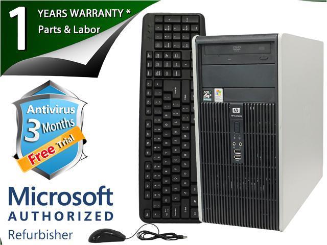 HP Desktop Computer DC5750 Athlon 64 3500+(2.2 GHz) 2 GB DDR2 80 GB HDD Windows 7 Home Premium 32-Bit