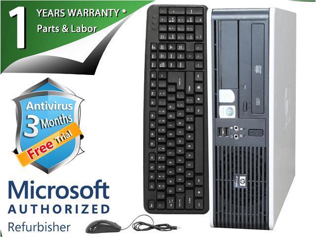 HP Desktop Computer DC7800 Core 2 Duo E6550 (2.33 GHz) 4 GB DDR2 160 GB HDD Intel GMA 3100 Windows 7 Professional 64-Bit