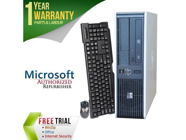 HP Desktop Computer DC5800 Core 2 Quad Q6600 (2.40 GHz) 4 GB DDR2 250 GB HDD Intel GMA 3100 Windows 7 Professional 64-Bit