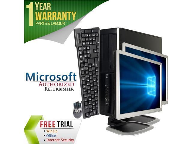 """Refurbished: HP Desktop Computer 6300 Pro + Dual 19"""" LCD Intel Core i5 3rd Gen 3470 (3.20 GHz) 8 GB DDR3 2 TB HDD Intel HD Graphics 2500 Windows 10 Pro 64-Bit"""