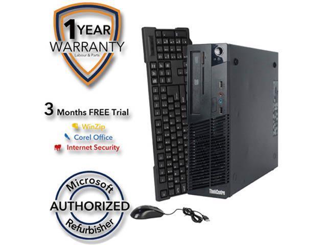 Lenovo Desktop Computer M73 Intel Core i3 4th Gen 4130 (3.40 GHz) 4 GB DDR3 250 GB HDD Windows 7 Professional 64-Bit