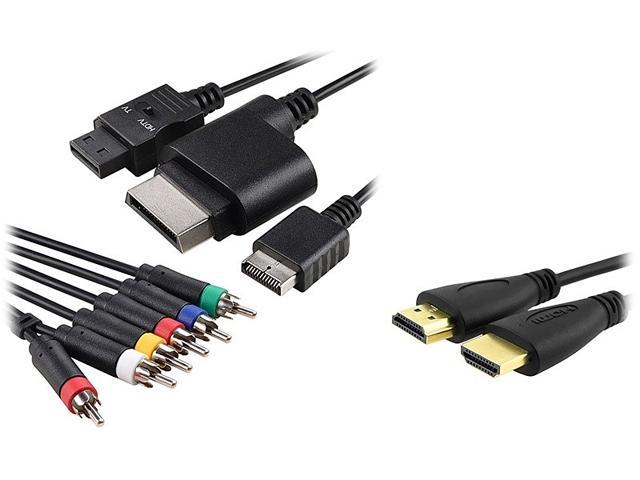 Insten 1926500 4-in-1 Audio Video Cable + Black High Speed HDMI Cable M/M For Microsoft Xbox 360 Slim / WII