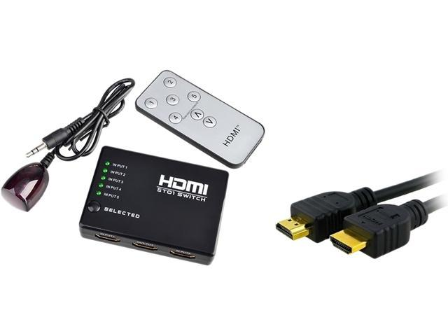Insten 1983527 3 Feet Black 5 Port HDMI Splitter + IR Remote + 3ft 1m Black M/M High Speed HDMI Cable