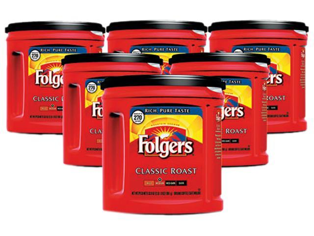 Folgers 00367CT Coffee, Classic Roast Regular, Ground, 33.9 oz., Can, 6/Carton