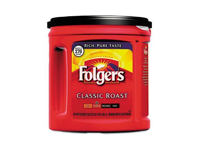 Folgers 00367EA Coffee, Classic Roast Regular, Ground, 33.9 oz. Can