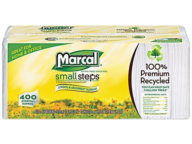 Marcal Small Steps 6506 100% Premium Recycled Luncheon Napkins,12-1/2 x 11-2/5, White, 2400/Carton