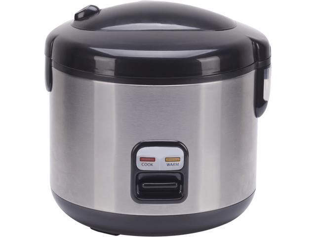 Sunpentown SC-1202SS Black/Stainless Steel 6-cups Rice Cooker with Stainless Body