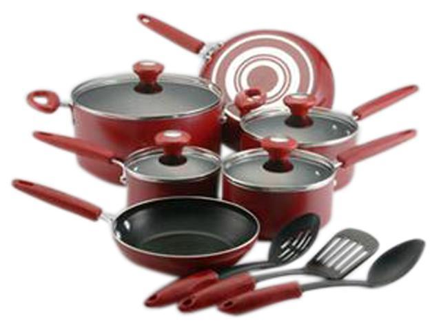 FARBERWARE Culinary Colors 20807 13-Piece Cookware Set, Red
