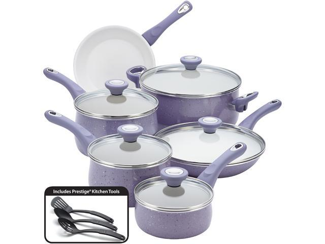 Farberware 16013 New Traditions Speckled Aluminum Nonstick 14-Piece Cookware Set, Lavender