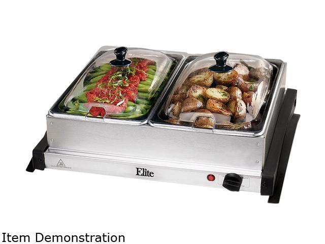 Elite EWM-6122 Gourmet 2-Tray 2.5 Quart Buffet Server and Warmer