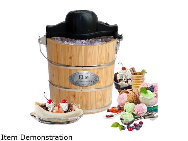 MAXI-MATIC EIM-502 Elite Gourmet Old Fashioned Pine Bucket Electric/Manual Ice Cream Maker