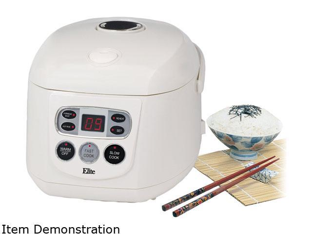 Elite ERC-150 White 8 Cup LED Multifunction Rice Cooker