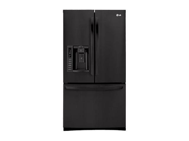 27.6 cu. ft. French Door Refrigerator with 4 Split Spill Protector Glass Shelves, Glide N' Serve Drawer, IcePlus, External Ice/Water Dispenser and Linear Compressor: Smooth Black