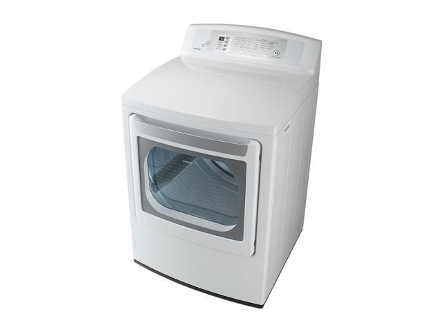 LG DLE4801W White Electric Large Capacity Dryer with LED Display and Rear Controls