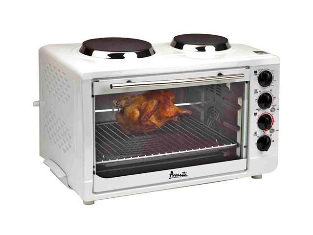 Avanti OCRB43W White Convection Oven Rotisserie W/ 2 Built-In Cook Top Burners