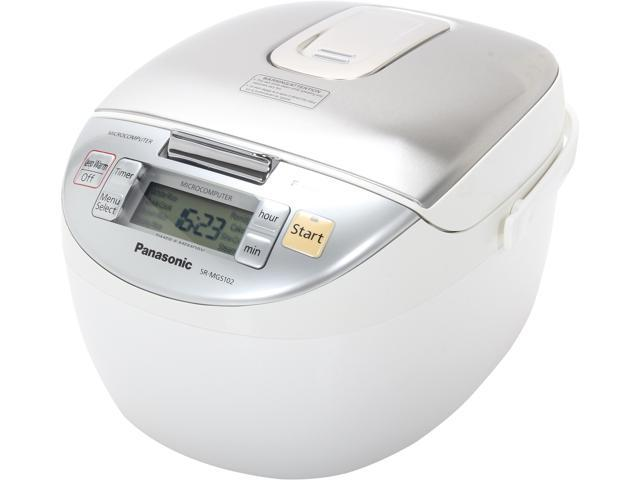 Panasonic SR-MGS102 White w/ Stainless Trim Microcomputer Controlled Fuzzy Logic 5-Cups Uncooked and 10-Cups Cooked Rice Cooker