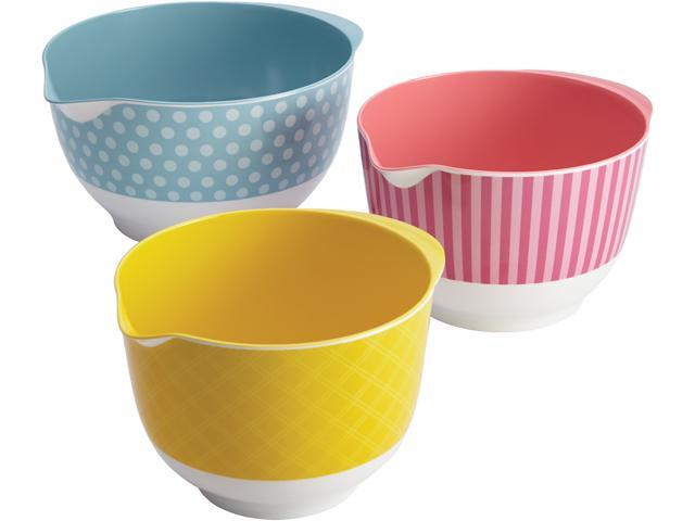 Cake Boss  59586  Countertop Accessories 3-Piece Melamine Mixing Bowl Set, Basic Pattern