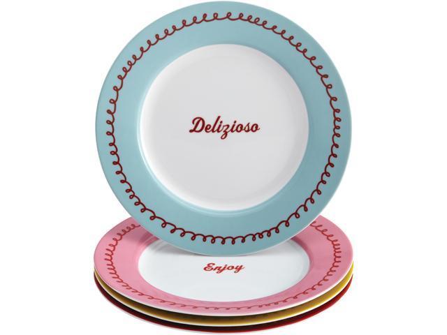 Cake Boss  58675  Serveware 4-Piece Porcelain Dessert Plate Set,