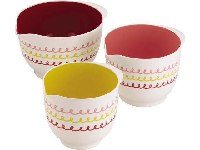 """Cake Boss  59729  Countertop Accessories 3-Piece Melamine Mixing Bowl Set, """"Icing"""" Pattern, Print"""