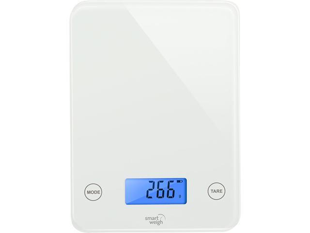 Smart weigh digital kitchen scale with glass top audible for Best smart kitchen scale