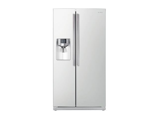 26 cu. ft. Side by Side Refrigerator with 4 Spill Proof Glass Shelves, Twin Cooling System, Power ze/Cool Options, In-door Icemaker and External Filtered Water/Ice Dispenser: White Pearl