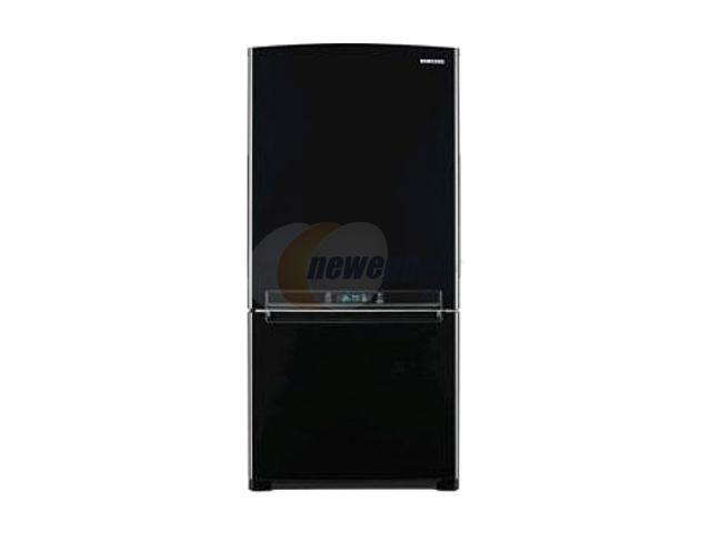 18 cu. ft. Counter-Depth Bottom-zer Refrigerator with Slide Out Glass Shelves, Twin Cooling, LED Lighting, External Digital Controls, Power ze/Cool and Ice Maker: Black Pearl