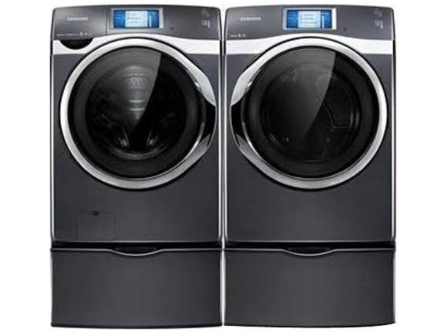 Washers and dryers samsung 4 8 cu ft front load washer and 7 5 cu - Samsung 457w W Ed 2 Kit Neat White 4 5 Cu Front Load