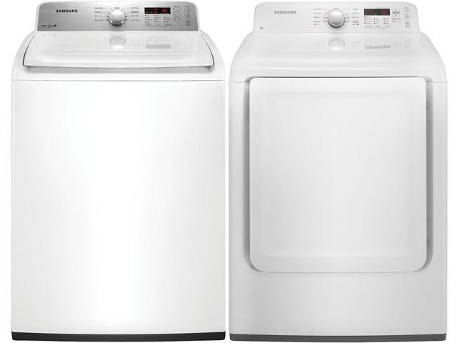 Samsung WA400PJHDWR and DV400EWHDWR Top Load Washer/Electric Front Load Dryer Combination, White