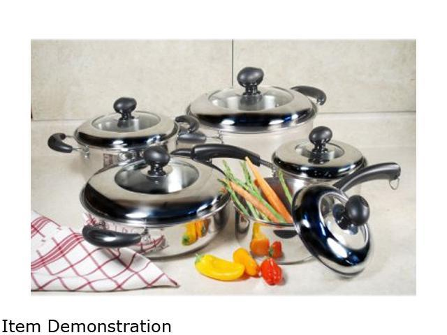 Cookpro 555 10pc Cookware Set Stainless Steel With Glass Lids