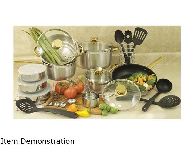 Cookpro 552 31 Pc  18/10 Cookware Set w/Encapsulated Base and Gold Handles & Knobs