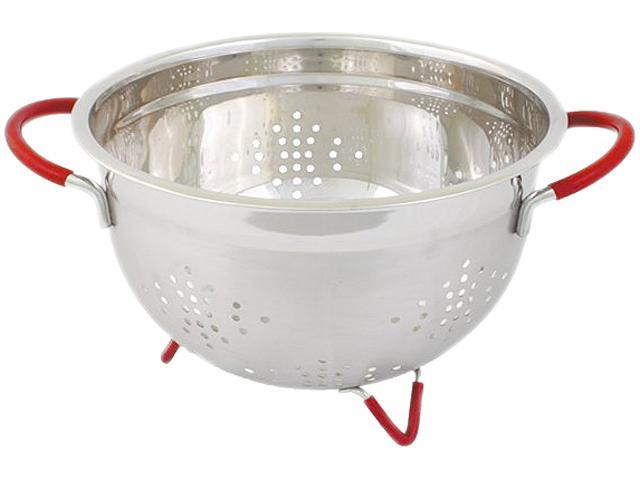 Cookpro 257 3 Qt Heavy Duty Stainless Steel Colander w/ Red Handles and Non- Skid Feet