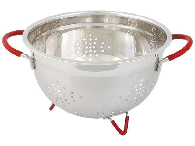 Cookpro 259 7 Qt Heavy Duty Stainless Steel Colander w/ Red Handles and Non- Skid Feet