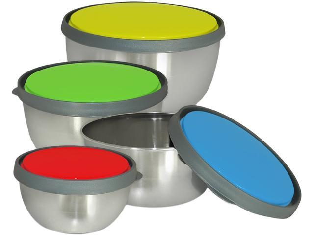 Cookpro 200 8 Pc Stainless Steel Storage Bowls w/ Colored Lids