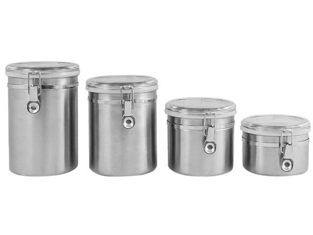 Ragalta RCA-045 4 Piece Stainless Steel Canister Set with Airtight Acrylic Lids