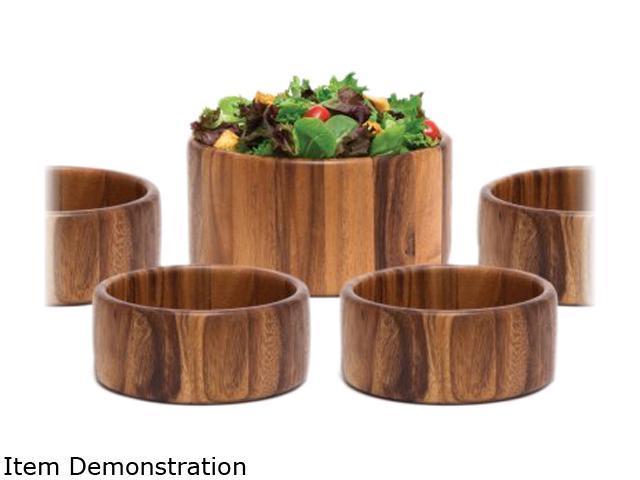 Lipper 1145/7 Acacia Salad Bowl Set 7 Piece Includes 1 Large