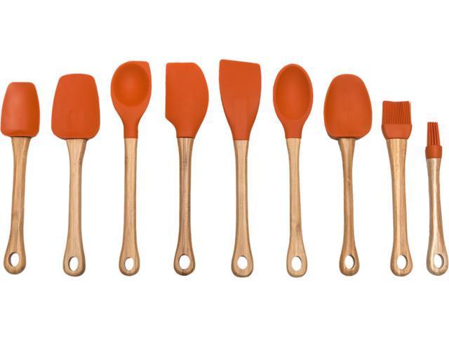 Lipper 8519O Orange Kitchen Tools 9pc Bamboo w Silicone Heads