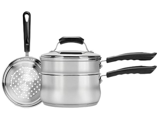 Range Kleen CW2011 4-Piece 3-Quart Sauce Pan with Lid, Steamer and Double Boiler Insert