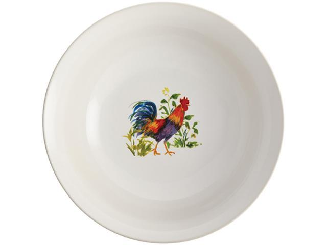BONJOUR  50180  Dinnerware Meadow Rooster Stoneware 10-Inch Round Serving Bowl