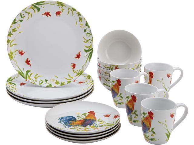 BONJOUR  54135  Dinnerware Meadow Rooster Stoneware 16-Piece Set, Print