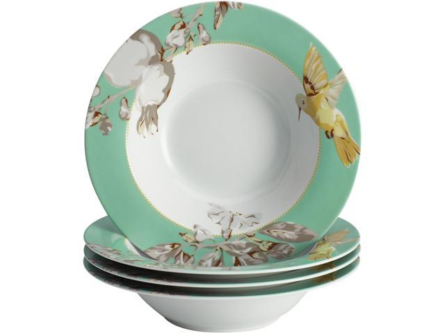 BONJOUR  55587  Dinnerware Fruitful Nectar Porcelain 4-Piece Soup/Pasta Bowl Set
