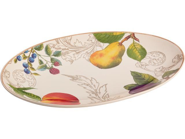 BONJOUR  54183  Dinnerware Orchard Harvest Stoneware 8-3/4-Inch by 13-Inch Oval Platter